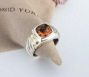 David Yurman - 14K Gold & Silver Noblesse Orange Citrine Ring - size 6 - Mint!