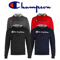 Champion Men's Pullover Hoodie Long Sleeve Powerblend Script Logo Sweatshirt