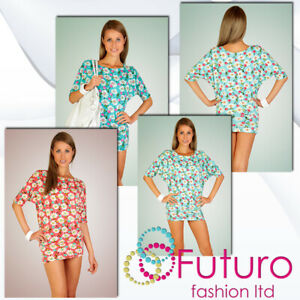 Damen Locker Sommerkleid Cherries& Daisy Bedruckte Tunika Stil Fledermausärmel