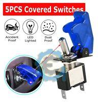 5X C1 Blue Cover LED 12V 20A Light Rocker Toggle Switch SPST ON/OFF Car Truck