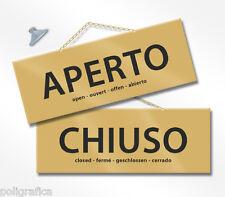 MAXI Cartello APERTO e CHIUSO cm 28,5x10 ORO kit con catenina e ventosa
