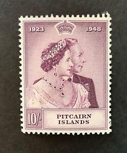 PITCAIRN ISLAND. 1948 10/- SILVER WEDDING. SG12. NEVER HINGED MINT. CAT£40.