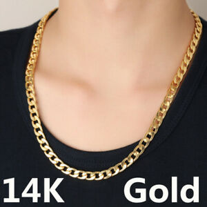"""14K Yellow Gold plated Cuban Chain necklace Men's Jewelry Length 24"""" Width7mm"""