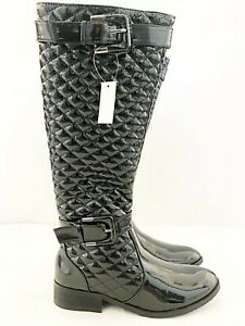 New Ladies Manfield Black Faux Patent Leather Quilted Zip Up Riding Boot