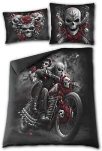 SKULLS N' ROSES - Double/Queen Blanket Cover + 2 Pillow Cases/Rock/Biker/Reaper