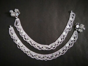 22K Silver Plated Indian 10'' Anklet Indian Style Chain Women Jewelry ABhg
