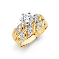 Women 14k 2 Tone Gold Solitaire Round Cz Wedding Bridal Set Engagement Ring Band