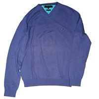 Tommy Hilfiger Herren Pullover Strickpullover V Neck Gr.L Lila premium cotton