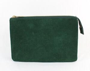 Celine Emerald Green Suede Zip Top Trip Clutch Pouch Bag