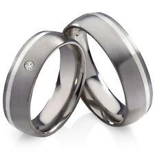 , anillo boda, alianza de titanio con 925 plata y circonitas anillos grabado ht136