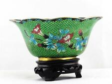 BEAUTIFUL CHINESE PLIQUE A JOUR DECORATIVE GREEN BOWL W/ A FLORAL DECORATIVE