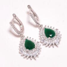 """Sakota Mines Emerald, White Topaz 925 Sterling Silver Earring 1.48"""" E627-2-6"""