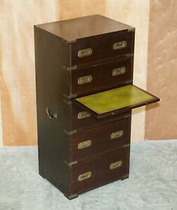 VINTAGE MILITARY CAMPAIGN TALLBOY CHEST OF DRAWERS WITH GREEN LEATHER SLIP SHELF