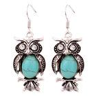 Vintage Owl Turquoise Stone Tibet Silver Rhinestone Crystal Dangle Hook Earrings