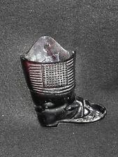 Purple Amethyst Glass Boot Match/Toothpick Holder Wall Pocket