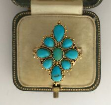Marquise Shaped Cluster Ring Circa 1810's A Stunning Georgian Turquoise & Gold