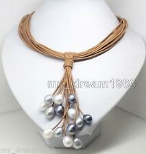 10-11MM Black White Gray PEARL PENDANT NECKLACE LEATHER CORD CHAIN MAGNET CLASP