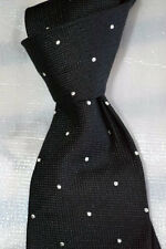 $215 NWOT Purple Label Ralph Lauren Black white spots men's woven silk Italy tie