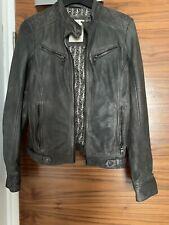 Esprit Biker jacket in high-quality leather Uk 8 Grey Khaki £200