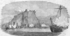 CHINA. Taiping Rebellion. HMS Hermes shelling Chin-Kiang-Foo, old print, 1853