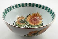 LN Oriental Accent Porcelain Summer Sunflower Green Gingham Rim Decorative Bowl