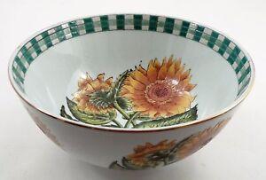 LN Oriental Accent Porcelain Summer Sunflower Green Gingham Rim Decorative Bowl
