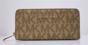 NEW Michael Kors MK Jet Set Continental Zip-Around Leather Wallet Purse