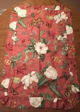 Williamsburg Magnolia Red Floral Dogwood Ruffled King Size Pillow Sham Flowers