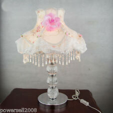Modern Simplicity Crystal+Metal Pink Flower Diameter 31cm Height 48cm Table Lamp