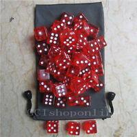 50 X Red 6 Sided D6 16mm RPG D&D D20 Game Dice bag DG