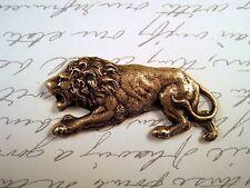 (1) - Boffa8679 Jewelry Finding Oxidized Brass Crouching Lion Stamping