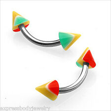 """PAIR Eyebrow Tragus Curved Barbell 16g  5/16"""" RASTA SPIKE Red Green Yellow"""