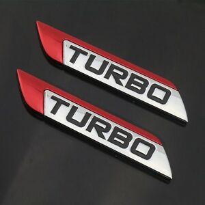 Red Turbo Charger Chrome Metal Decal Emblem Badge Sticker For Nissan