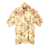Tori Richard Men's Small Hawaiian Shirt Short Sleeve Button-Up Brown Floral