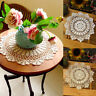 Vintage Cotton Placemat Hand Crocheted Lace Doilies Flower Table Coasters Solid