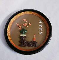 "Vintage Asian Round Framed 3D Relief Art 7.5"" Flowers Bloom Carving"