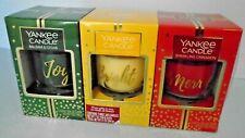 Yankee Glass Tumbler Trio Set Holiday Candles, Joy, Bright, Merry. 7 oz Each.