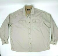 Wrangler Shirt Men's Size 3XL Beige Long Sleeve Double Pocket Button Up Casual