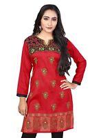 NEW Indian Designer Printed Maroon Red  Crepe Silk Kurtis Tunic Top Kaftan Women