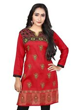 NEW Indian Designer Printed Maroon Red  Crepe Silk Kurtis Tunic Top Kaftan Women