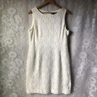 LRL Ralph Lauren Ivory White Sleeveless Lined Lace Sheath Dress Women's 14