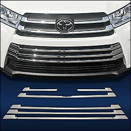 Chrome Grille Overlay Trims Compatible with 2017 2018 2019 Toyota Highlander
