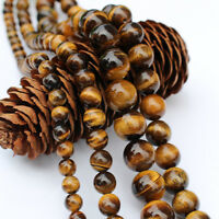 "Natural Tiger's Eye Round Gemstone Loose Spacer Beads 15""Strand 4/6/8/10mm"