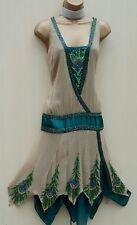 KAREN MILLEN 10 UK Gatsby Flapper 20's Downton Abbey Peacock Beaded Party Dress