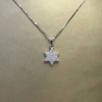 14K Star of David Necklace Paved Set 0.14ct Diamonds Solid White Gold