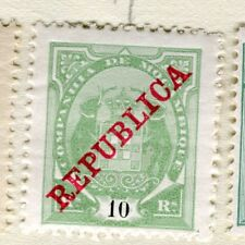PORTUGUESE MOZAMBIQUE;  1911 early REPUBLICA issue Mint hinged 10r. value