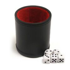 Professional Leather Dice Cup with Five Dice and Felt Interior for dice games