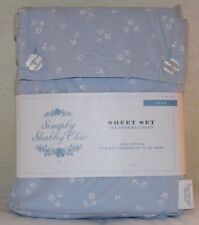 Rachel Ashwell Simply Shabby Chic Twin Sheet Set Country Cottage Rose Buds Blue