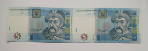 Ukraine 5 Hryvnia 2015 Uncut Sheet of  2 Banknotes, Crisp Uncirculated. Rare UNC
