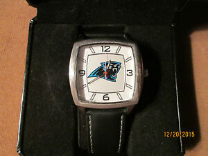 New Official NFL Game Time Carolina Panthers Square Faced Watch and Leather Band